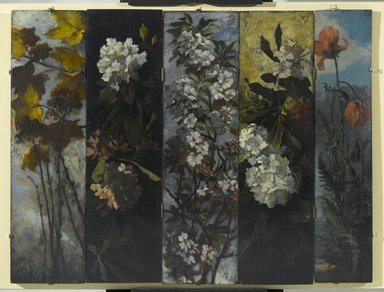 Elizabeth Boott Duveneck (American, 1846-1888). Rhododendrons, 1882. Oil on wood panel, Individual panel: 35 15/16 x 9 13/16 in. (91.3 x 24.9 cm). Brooklyn Museum, Gift of Joan Harmen Brown, Mr. and Mrs. William Slocum Davenport, Mrs. Lewis Francis, Samuel E. Haslett, William H. Herriman, Joseph Jefferson IV, Clifford L. Middleton, the New York City Police Department, Mrs. Charles D. Ruwe, Charles A. Schieren, the University Club, Mrs. Henry Wolf, Austin M. Wolf, and Hamilton A. Wolf, by exchange, Frank Sherman Benson Fund, Museum Collection Fund, Dick S. Ramsay Fund, Carll H. de Silver Fund, John B. Woodward Memorial Fund, and Designated Purchase Fund