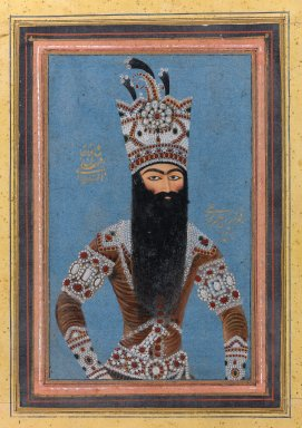 Mihr 'Ali (Iranian, active ca. 1800-1830). Portrait of Fath 'Ali Shah Qajar, 1815. Ink, opaque watercolor, and gold on paper, 3 1/2 x 5 in. (8.9 x 12.7 cm). Brooklyn Museum, Gift of Laura L. Barnes, David Ellis, Mr. and Mrs. Alfred H. Otto, Mabel Reiner, and anonymous gifts, by exchange, 2005.56