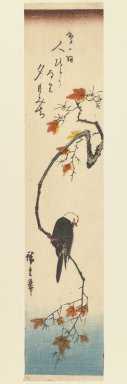 Utagawa Hiroshige (Ando) (Japanese, 1797-1858). Bunting on a Maple Branch, ca. 1840. Woodblock print, Image: 13 9/16 x 6 3/4 in. (34.5 x 17.2 cm). Brooklyn Museum, Gift of Dr. Eleanor Z. Wallace in memory of her husband, Dr. Stanley L. Wallace, 2005.79.6