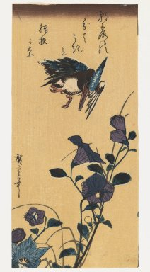 Utagawa Hiroshige (Ando) (Japanese, 1797-1858). Kingfisher flies over purple morning glories (Late edition), 1850. Woodblock print, Image: 10 1/16 x 4 13/16 in. (25.6 x 12.2 cm). Brooklyn Museum, Gift of Dr. Eleanor Z. Wallace in memory of her husband, Dr. Stanley L. Wallace, 2005.79.8