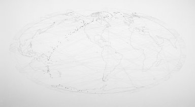 David Opdyke (born U.S.A., 1969). Connected, 2004. Pencil on paper, 34 x 60 in. (86.4 x 152.4 cm). Brooklyn Museum, Alfred T. White Fund, 2005.8. © David Opdyke