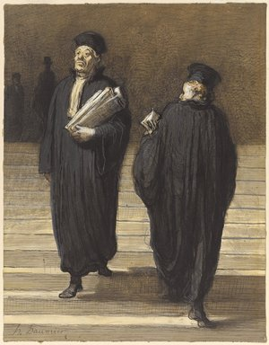 Honoré Daumier (French, 1808-1879). The Two Colleagues (Lawyers) (Les deux confrères [Avocats]), 1865-1870. Watercolor, pen and black ink, gouache and crayon on paper, Sheet: 10 1/8 x 7 1/2 in. (25.7 x 19.1 cm). Brooklyn Museum, Gift of Barbara Bisgyer Cohn, 2006.14