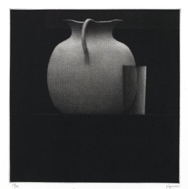 Robert Kipniss (American, born 1931). Still life w/kettle & glass, 2005. Mezzotint, Sheet: 15 x 13 in. (38.1 x 33 cm). Brooklyn Museum, Gift of James F. White, 2006.16.7. © Robert Kipniss