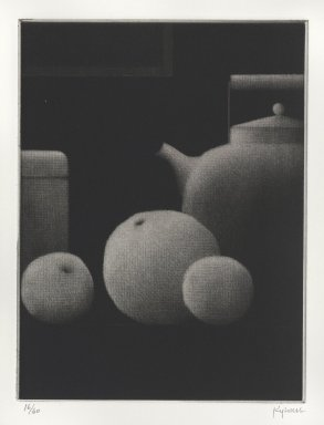 Robert Kipniss (American, born 1931). Still life w/bottle & fruit, 2005. Mezzotint, Sheet: 10 x 9 1/4 in. (25.4 x 23.5 cm). Brooklyn Museum, Gift of James F. White, 2006.16.8. © Robert Kipniss