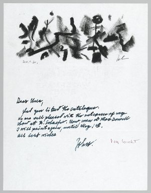 John von Wicht (American, born Germany, 1888-1970). Letter with Drawing, 12/04/1960., 8 1/2 x 11 in. (21.6 x 27.9 cm). Brooklyn Museum, Brooklyn Museum Collection, 2006.17.13