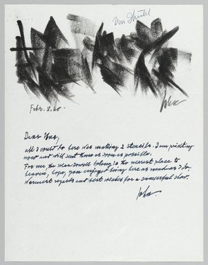 John von Wicht (American, born Germany, 1888-1970). Letter with Drawing, 02/08/1960., 8 1/2 x 11 in. (21.6 x 27.9 cm). Brooklyn Museum, Brooklyn Museum Collection, 2006.17.14