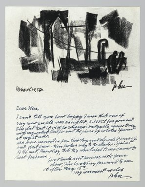 John von Wicht (American, born Germany, 1888-1970). Letter with Drawing, 1956., 8 1/2 x 11 in. (21.6 x 27.9 cm). Brooklyn Museum, Brooklyn Museum Collection, 2006.17.16
