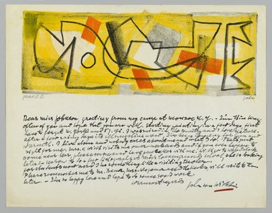 John von Wicht (American, born Germany, 1888-1970). Letter with Drawing, 1951., 8 1/2 x 11 in. (21.6 x 27.9 cm). Brooklyn Museum, Brooklyn Museum Collection, 2006.17.17