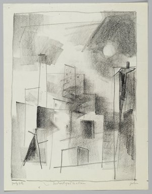 John von Wicht (American, born Germany, 1888-1970). Drawing, 'Industrial Section', 1951., 8 1/2 x 11 in. (21.6 x 27.9 cm). Brooklyn Museum, Brooklyn Museum Collection, 2006.17.20