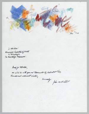 John von Wicht (American, born Germany, 1888-1970). Letter with Drawing, 11/16/1968., 8 1/2 x 11 in. (21.6 x 27.9 cm). Brooklyn Museum, Brooklyn Museum Collection, 2006.17.2