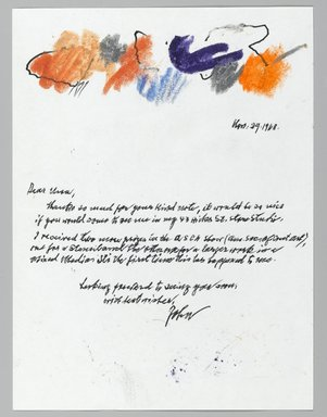 John von Wicht (American, born Germany, 1888-1970). Letter with Drawing, 11/29/1968., 6 x 8 in. (15.2 x 20.3 cm). Brooklyn Museum, Brooklyn Museum Collection, 2006.17.3