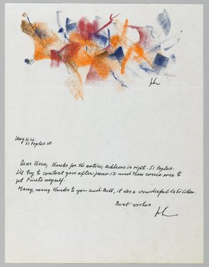 John von Wicht (American, born Germany, 1888-1970). Letter with Drawing, 05/31/1966., 8 1/2 x 11 in. (21.6 x 27.9 cm). Brooklyn Museum, Brooklyn Museum Collection, 2006.17.8