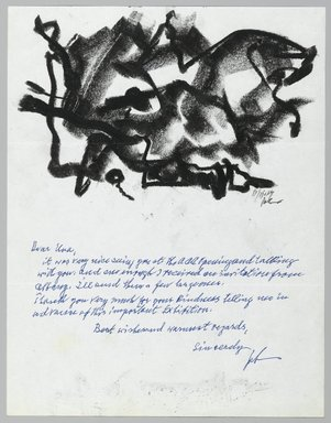 John von Wicht (American, born Germany, 1888-1970). Letter with Drawing, 11/11/1964., 8 1/2 x 11 in. (21.6 x 27.9 cm). Brooklyn Museum, Brooklyn Museum Collection, 2006.17.9