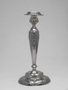 Gorham Manufacturing Company (founded 1865). Candlestick, Model 74-8050-12 ½ IN, ca. 1910. Silver, 12 5/8 x 5 1/2 in., 1.5 lb. (32.1 x 14 cm, 0.7kg). Brooklyn Museum, Gift of Elinor and William Appleby, 2006.52.2. Creative Commons-BY