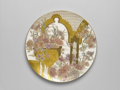 James Callowhill (English, 1838-1913, active United States, ca. 1885-1913). Plaque, ca. 1887-1888. Porcelain, H: 1 in.; Diam: 10 5/8 in. (27 cm). Brooklyn Museum, Brooklyn Museum Collection, 2006.6.1. Creative Commons-BY