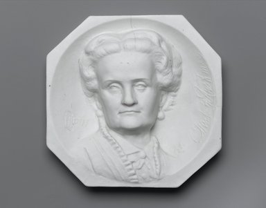 Karl L. H. Mueller (American, born Germany, 1820-1887). Plaque, Portrait of Charlotte Cushman, ca. 1876. Unglazed porcelain, 5 3/4 x 5 7/8 x 1 1/2 in. (14.6 x 14.9 x 3.8 cm). Brooklyn Museum, Gift of Joseph F. McCrindle, by exchange, 2006.6.2. Creative Commons-BY