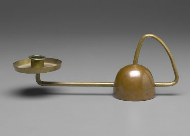 CDE. Candlestick, ca. 1910. Brass, 3 3/4 x 10 x 2 7/8 in. (9.5 x 25.4 x 7.3 cm). Brooklyn Museum, Gift of Mark McDonald in honor of Stuyvasent McReswick, 2006.8. Creative Commons-BY