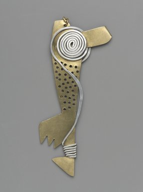 Claire Falkenstein (American, 1908-1997). Hair Ornament, ca. 1950. Brass, aluminum, 4 1/4 x 1 3/4 x 1/2 in. (10.8 x 4.4 x 1.3 cm). Brooklyn Museum, H. Randolph Lever Fund, 2007.21.4. Creative Commons-BY