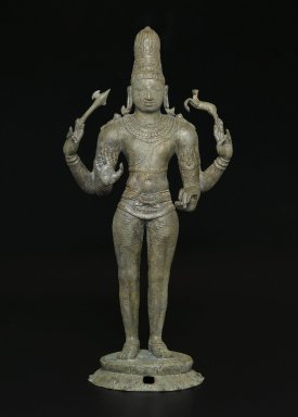 Shiva as Chandrashekhara, ca. 970 C.E. Bronze, 25 3/4 x 12 x 7 3/4 in., 50.5 lb. (65.4 x 30.5 x 19.7 cm, 22.91kg). Brooklyn Museum, Gift of the Asian Art Council in honor of Amy G. Poster; additional funding from bequest of Dr. Samuel Eilenberg, by exchange; Bertram H. Schaffner Asian Art Fund; and gift of Dr. Andrew Dahl, David Ellis, Benjamin S. Faber, Martha M. Green, Dr. and Mrs. Eugene Halpert, Stanley J. Love, Anthony A. Manheim, Mabel Reiner, and Chi Tiew-lui, by exchange , 2007.2. Creative Commons-BY
