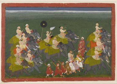 Maharana Sangram Singh of Mewar Riding in an Elephant Procession, ca. 1730-40. Opaque watercolor and gold on paper, 13 7/8 x 19 13/16 in. (35.2 x 50.3 cm). Brooklyn Museum, Gift of Dr. Bertram H. Schaffner, 2007.30