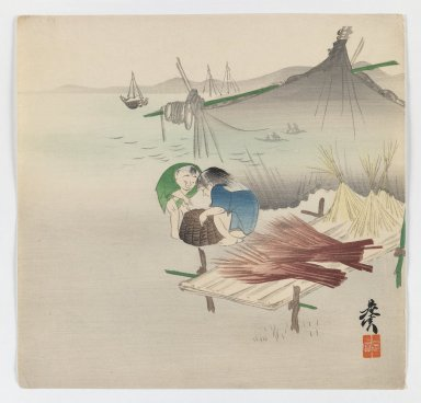 Shibata Zeshin (Japanese, 1807-1891). Children Playing by the Sea, ca. 1880. Woodblock color print, 9 1/2 x 9 13/16 in. (24.1 x 24.9 cm). Brooklyn Museum, Gift of the Estate of Dr. Eleanor Z. Wallace, 2007.32.100