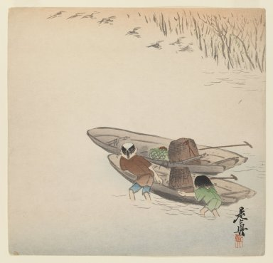 Shibata Zeshin (Japanese, 1807-1891). Fisherman with Boy and Boats, ca. 1880. Woodblock color print, 9 1/2 x 9 7/8 in. (24.1 x 25.1 cm). Brooklyn Museum, Gift of the Estate of Dr. Eleanor Z. Wallace, 2007.32.101