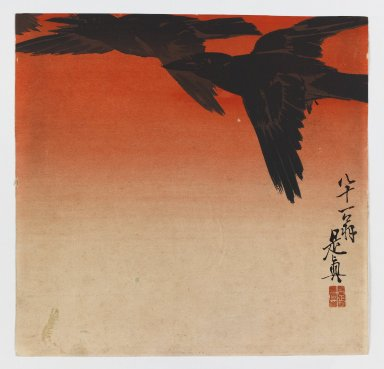 Shibata Zeshin (Japanese, 1807-1891). Crows Fly by Red Sky at Sunset, ca. 1880. Woodblock color print, 9 x 9 5/16 in. (22.9 x 23.7 cm). Brooklyn Museum, Gift of the Estate of Dr. Eleanor Z. Wallace, 2007.32.102