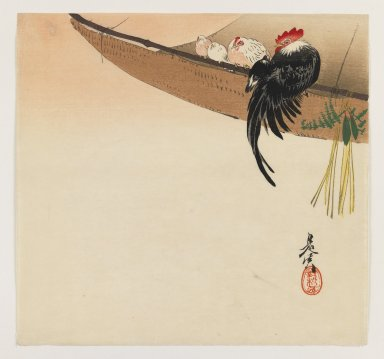 Shibata Zeshin (Japanese, 1807-1891). Hens and Cock with Hammock, ca. 1880. Woodblock color print, 9 3/8 x 9 7/8 in. (23.8 x 25.1 cm). Brooklyn Museum, Gift of the Estate of Dr. Eleanor Z. Wallace, 2007.32.103