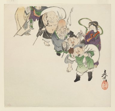 Shibata Zeshin (Japanese, 1807-1891). Seven Gods of Good Luck, ca. 1885. Woodblock color print, 9 1/2 x 9 7/8 in. (24.1 x 25.1 cm). Brooklyn Museum, Gift of the Estate of Dr. Eleanor Z. Wallace, 2007.32.104