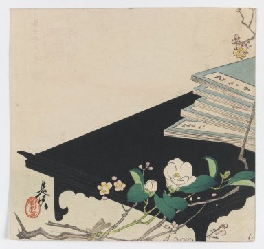 Shibata Zeshin (Japanese, 1807-1891). Camellia and Books on Low Black Table, ca. 1885. Woodblock color print, 9 x 9 9/16 in. (22.9 x 24.3 cm). Brooklyn Museum, Gift of the Estate of Dr. Eleanor Z. Wallace, 2007.32.105