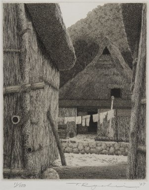 Tanaka Ryohei (Japanese, born 1933). [Untitled] (Village Scene), 1967. Etching, Sheet: 11 5/8 x 9 3/16 in. (29.5 x 23.3 cm). Brooklyn Museum, Gift of the Estate of Dr. Eleanor Z. Wallace, 2007.32.112. © Tanaka Ryohei