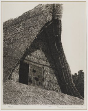 Tanaka Ryohei (Japanese, born 1933). Roof of Hida, 1973. Etching, Sheet: 15 1/4 x 11 7/16 in. (38.7 x 29.1 cm). Brooklyn Museum, Gift of the Estate of Dr. Eleanor Z. Wallace, 2007.32.114. © Tanaka Ryohei