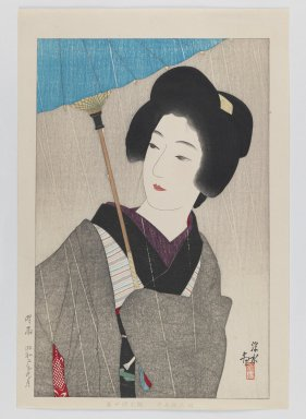 Ito Shinsui (Japanese, 1898-1972). Bust Portrait of Woman in Rain, 1918. Print, Sheet: 14 1/2 x 19 3/16 in. (36.8 x 48.7 cm). Brooklyn Museum, Gift of the Estate of Dr. Eleanor Z. Wallace, 2007.32.11