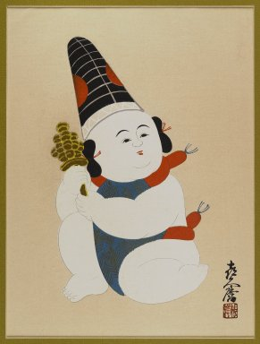 [Untitled] (Seated Boy, Wearing Hat, and Holding a Toy). Woodblock color print, 16 1/2 x 13 in. (41.9 x 33 cm). Brooklyn Museum, Gift of the Estate of Dr. Eleanor Z. Wallace, 2007.32.120