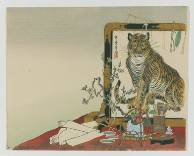 Kawanabe Kyosai (Japanese, 1831-1889). Standing Screen (Tsuitate) of a Tiger, 1878. Woodblock color print, 9 x 11 5/16 in. (22.9 x 28.7 cm). Brooklyn Museum, Gift of the Estate of Dr. Eleanor Z. Wallace, 2007.32.20