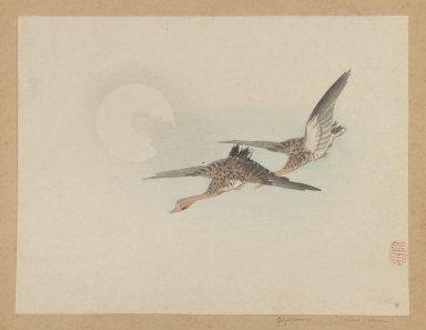 Mochizuki Gyokusen (Japanese, 1794-1852). Two Geese Fly by Moon, ca. 1850. Woodblock color print, 9 1/2 x 12 7/8 in. (24.1 x 32.7 cm). Brooklyn Museum, Gift of the Estate of Dr. Eleanor Z. Wallace, 2007.32.36