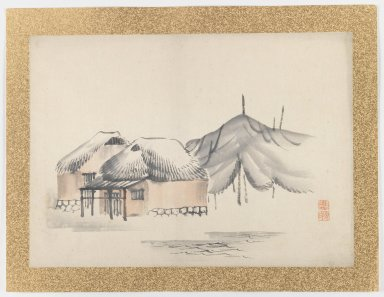 Nishiyama Hoen (Japanese, 1804-1867). [Untitled] (Village Scene by Water), 1855. Ink and light color on paper, 10 3/4 x 14 15/16 in. (27.3 x 37.9 cm). Brooklyn Museum, Gift of the Estate of Dr. Eleanor Z. Wallace, 2007.32.48