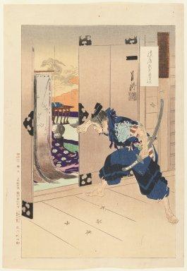 Ogata Gekko (Japanese, 1859-1920). As Man Pulls Open Sliding Door, He Spies Sleeping Beauty, 1887. Woodblock color print, 14 7/16 x 9 15/16 in. (36.7 x 25.2 cm). Brooklyn Museum, Gift of the Estate of Dr. Eleanor Z. Wallace, 2007.32.51