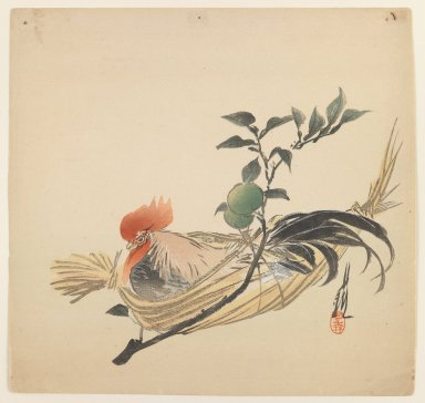 Ogata Gekko (Japanese, 1859-1920). Cock in a Basket, ca. 1890-1910. Woodblock color print, 9 7/16 x 9 7/8 in. (24 x 25.1 cm). Brooklyn Museum, Gift of the Estate of Dr. Eleanor Z. Wallace, 2007.32.58