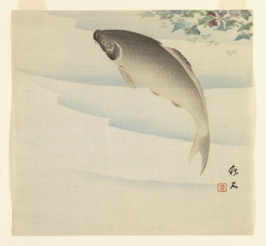 Chikuseki (Japanese, active ca. 1880-1910). Fish Beneath Waterchestnut Plant, ca. 1895-1910. Woodblock color print, 9 x 9 5/8 in. (22.9 x 24.4 cm). Brooklyn Museum, Gift of the Estate of Dr. Eleanor Z. Wallace, 2007.32.5