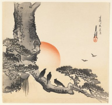 Ogata Gekko (Japanese, 1859-1920). Crows on a Tree Trunk, ca. 1890-1910. Woodblock color print, 9 3/8 x 9 13/16 in. (23.8 x 24.9 cm). Brooklyn Museum, Gift of the Estate of Dr. Eleanor Z. Wallace, 2007.32.62