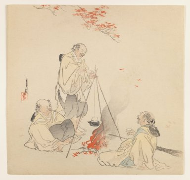 Ogata Gekko (Japanese, 1859-1920). Men by Fire in Autumn, ca. 1890-1910. Woodblock color print, 9 3/8 x 9 3/4 in. (23.8 x 24.8 cm). Brooklyn Museum, Gift of the Estate of Dr. Eleanor Z. Wallace, 2007.32.66
