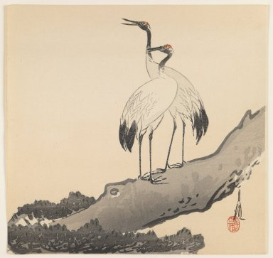 Ogata Gekko (Japanese, 1859-1920). Pair of Cranes on a Branch, after 1920. Woodblock color print, 9 1/2 x 9 5/16 in. (24.1 x 23.7 cm). Brooklyn Museum, Gift of the Estate of Dr. Eleanor Z. Wallace, 2007.32.68