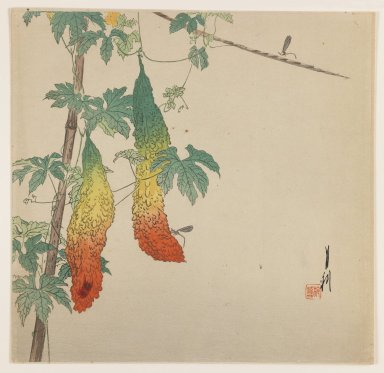 Ogata Gekko (Japanese, 1859-1920). Gourds and Wasp, ca. 1890-1910. Woodblock color print, 9 1/16 x 9 5/16 in. (23 x 23.7 cm). Brooklyn Museum, Gift of the Estate of Dr. Eleanor Z. Wallace, 2007.32.71