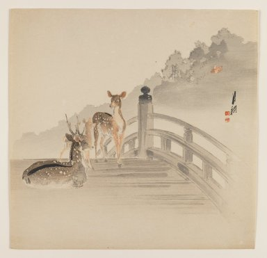 Ogata Gekko (Japanese, 1859-1920). Deer on Bridge, ca. 1890-1910. Woodblock color print, 9 5/16 x 9 1/8 in. (23.7 x 23.2 cm). Brooklyn Museum, Gift of the Estate of Dr. Eleanor Z. Wallace, 2007.32.73