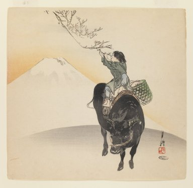Ogata Gekko (Japanese, 1859-1920). Child on Ox before Mt. Fuji, ca. 1890-1910. Woodblock color print, 9 1/2 x 9 7/8 in. (24.1 x 25.1 cm). Brooklyn Museum, Gift of the Estate of Dr. Eleanor Z. Wallace, 2007.32.74