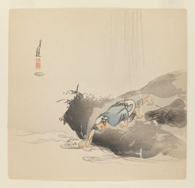 Ogata Gekko (Japanese, 1859-1920). Man before Waterfall, ca. 1890-1910. Woodblock color print, 9 1/2 x 9 7/8 in. (24.1 x 25.1 cm). Brooklyn Museum, Gift of the Estate of Dr. Eleanor Z. Wallace, 2007.32.75