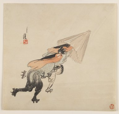 Ogata Gekko (Japanese, 1859-1920). Performers in Rain, ca. 1890-1910. Woodblock color print, 9 7/16 x 9 7/8 in. (24 x 25.1 cm). Brooklyn Museum, Gift of the Estate of Dr. Eleanor Z. Wallace, 2007.32.76
