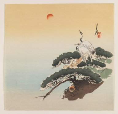 Ogata Gekko (Japanese, 1859-1920). Pair of Cranes on a Branch, ca. 1890-1910. Woodblock color print, 9 5/16 x 9 1/2 in. (23.7 x 24.1 cm). Brooklyn Museum, Gift of the Estate of Dr. Eleanor Z. Wallace, 2007.32.77