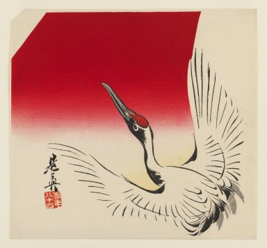 Shibata Zeshin (Japanese, 1807-1891). Crane, ca. 1890. Woodblock color print, 9 7/16 x 10 1/8 in. (24 x 25.7 cm). Brooklyn Museum, Gift of the Estate of Dr. Eleanor Z. Wallace, 2007.32.98
